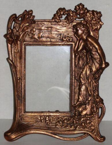 Art Nouveau Copper Finish Iron Easel Picture Frame