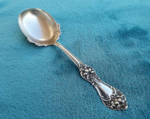 "Floral by Baker Manchester 7 1/8"" Sterling berry Spoon no mono"