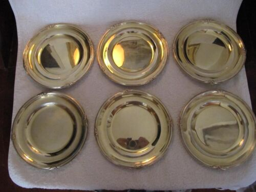 antique french sterling silver (minerve) dessert plates (6) Louis XV st 1900g (b