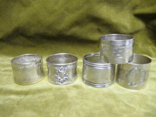 1900 cfrench silver 950 & 800 (minerve) set of 5 napkin rings rococo art nouveau