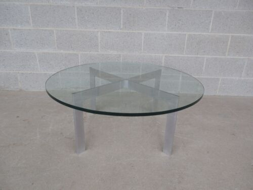 Baughman Style Mid Century Modern Polished Aluminum Glass Top Cocktail Table