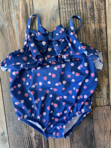 86cd1dd6d8 NWT Gymboree Baby Girls Blue Swimsuit Pink Strawberries Ruffle Bow Size  12-18 M