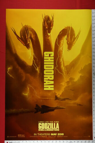 Ghidorah 3 Headed Godzilla King of the Monsters 2019 Movie Poster 24X36 New GHID