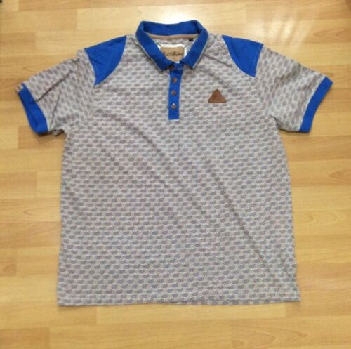 Mens Rock And Revival Grey & Blue Patterned Polo Neck Summer T Shirt Top Size L