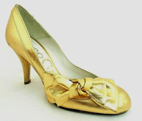 PACO GIL LADIES GOLD LEATHER HEELS COURT SHOES WOMANS UK 3 - EUR 36