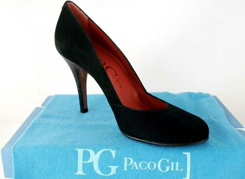 PACO GIL LADIES BLACK LEATHER SUEDE HEELS COURT SHOES WOMANS UK 6.5 - EUR 39.5