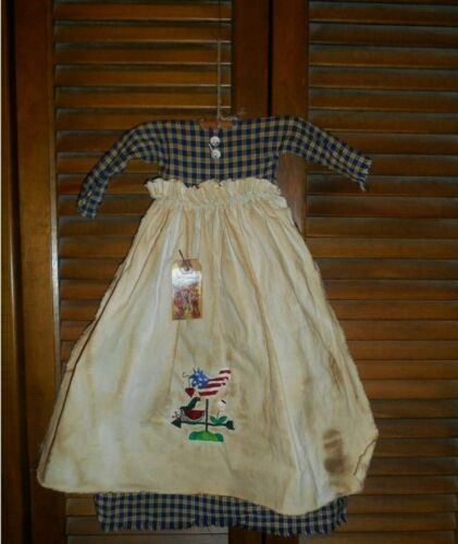 Primitive Wall Dress BLUE PLAID USA ROOSTER & CROW,Patriotic,July 4th,Grungy