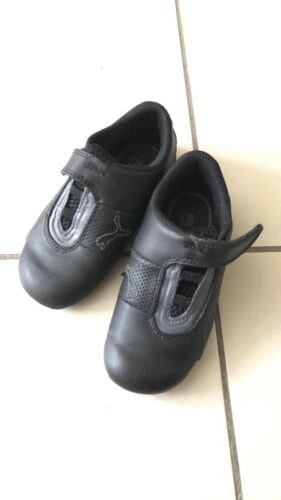 Puma Kinderfit Black Leather Sneakers Suit Boy Or Girl Size 25 (US 9)