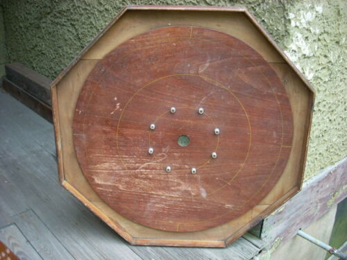Antique Primitive Wooden 8 Sided Game board Original Red Paint AAFA