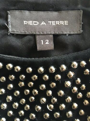 Pied A Terre Designer Silver beaded black Dress Size 12