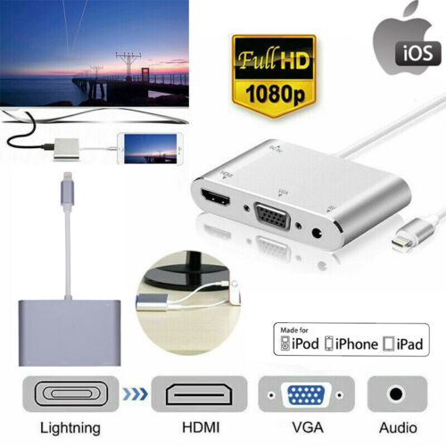 OEM Apple Lightning to VGA + Digital AV Adapter for iPhone iPad Mini/Air/Pro AU