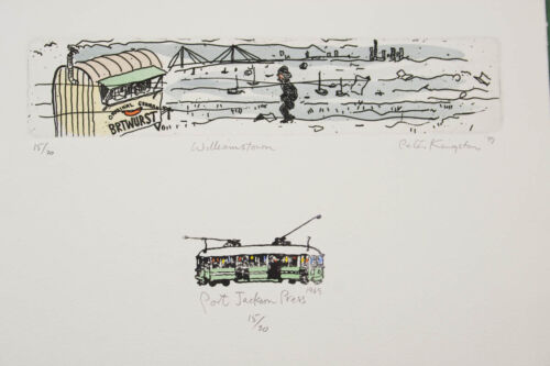 Peter KINGSTON 'Williamstown' original signed etching on paper Melbourne beach
