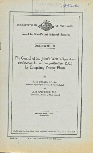SCIENCE PAPER … THE CONTROL OF ST JOHN'S WORT BY COMPETING PASTURE PLANTS 1942
