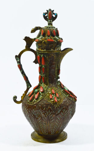 RARE 19th ANTIQUE OTTOMAN TURKEY CORAL AND TURQUOISE INSET COFFEE POT