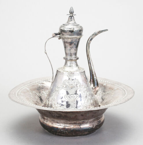 2070 GRAMS ANTIQUE OTTOMAN  EGYPT EWER AND BASIN 19th/20th