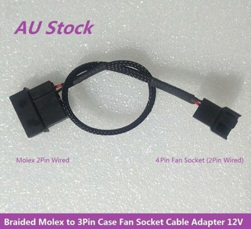 Braided Molex LP4 (2pin Wired) to 3/4Pin Case Fan Socket Cable Adapter 12V 25cm