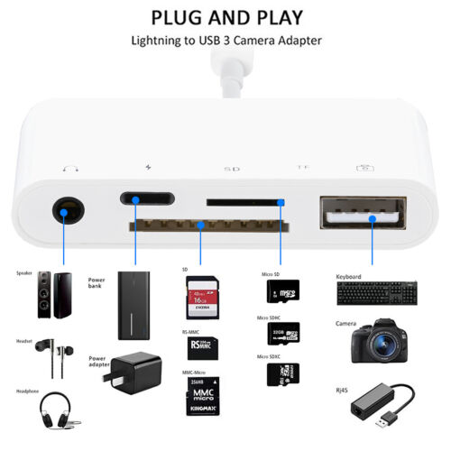 5 in 1 For iPhone 12 11 XR iPad Air Pro to TF SD Card Reader USB Camera Adapter