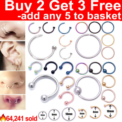 Nose Ring Lip Nose Rings Helix Tragus Lobe Ear Piercing Ring Surgical Steel Hoop <br/> Buy any 2 Get any 3 Free✅Add any 5 to basket✅Any Style✅