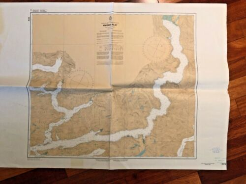 1984 Vintage Canada British Columbia Map Nautical Chart 3578 Knight Inlet 45X33