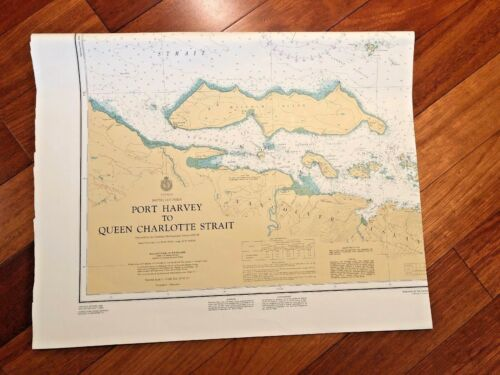 1983 Vintage Canada British Columbia Map Nautical Chart 3596 Port Harvey 45X33