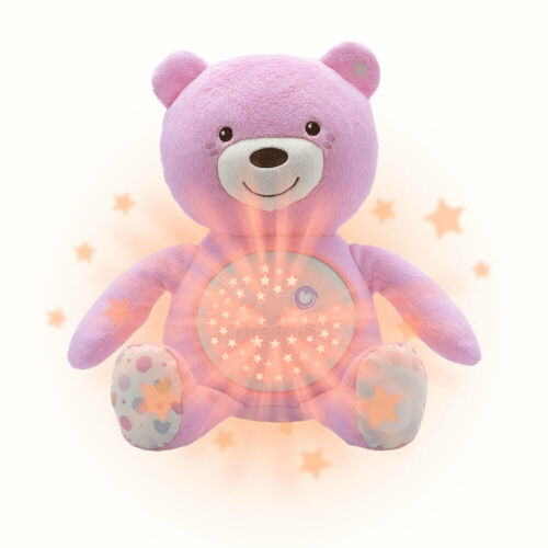 Chicco Soft Plush Baby Bear Lullaby Sound Musical Light Projector Toy 0m+ Pink
