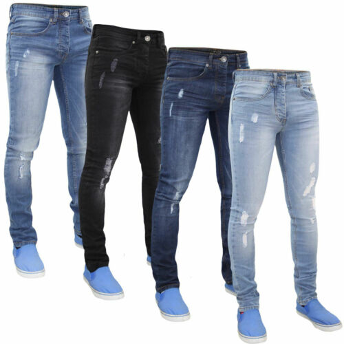 """Mens Skinny Ripped Jeans Super Stretch Denim Pant Trousers Waist Sizes 28"""" - 40"""""""