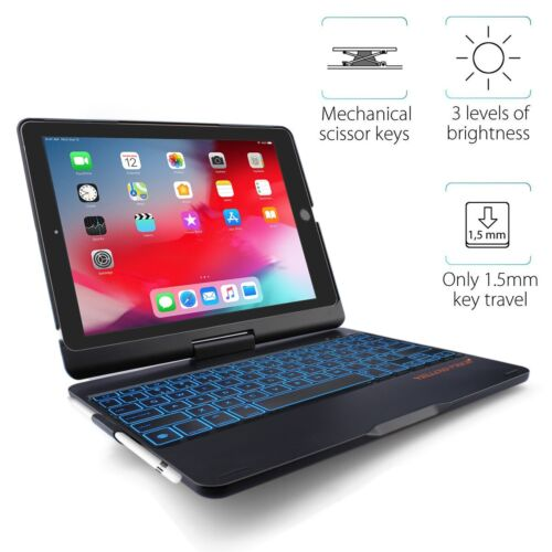 For iPad Air 1 2 Keyboard Case 7 Colors Backlit Bluetooth Keyboard Smart Cover