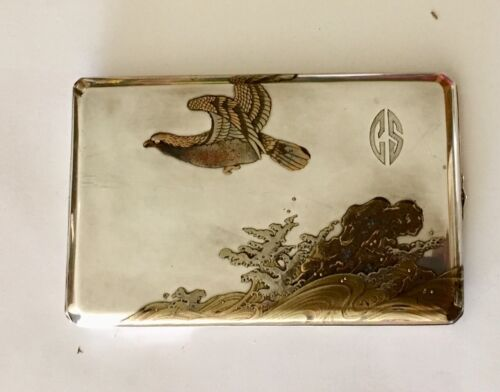 Vintage Sterling Silver w/ Gold Overlay and Inlay Mother of Pearl Cigarette Case