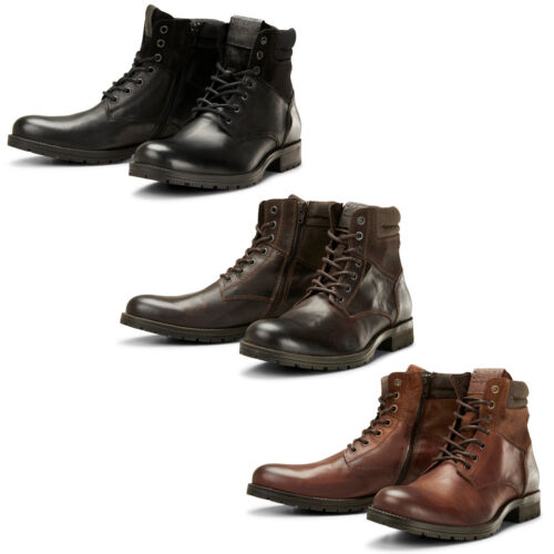 Jack & Jones Ankle Boots JFWZachary Mens Leather Lace Up Side Zip Durable Shoes