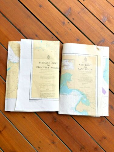 Vintage Canada  BC Map Nautical Charts Semiahmoo Bay Discovery Passage 45X33