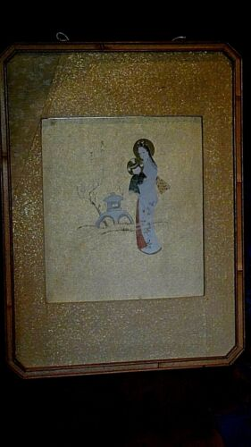 ANTIQUE 19c JAPANESE WATERCOLOR ON GILT PAPER SHOWS WOMAN WITH CHILD,SIGNED