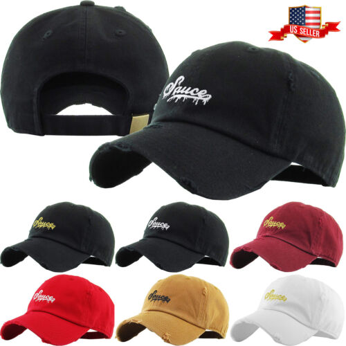 Sauce Embroidery Dad Hat Baseball Cap Unconstructed