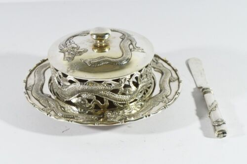 329 GRAMS ANTIQUE CHINESE EXPORT SILVER BUTTER DISH 19th MAKER MH