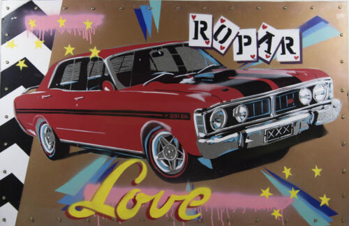 Dennis ROPAR Love - Vintage Car Pop-Art, on Tin, Signed, 1970 Ford XY Falcon GT