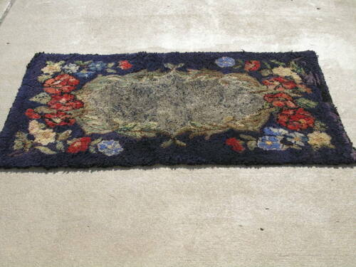 Antique American Hooked Rug on Canvas Purples Floral 35x56 inches