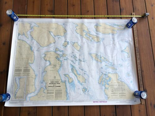 1988 Vintage Boundary Pass Haro Strait Chart 3441 Canadian 33x47 Salish Sea