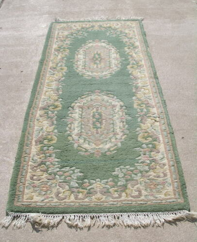 """Vintage Chinese Design Green Oriental Rug Runner Floral 32x88"""" As Shown"""