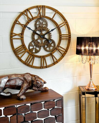 Large Wooden Round Wall Clock with Cogs - Statement Piece -Roman Numerals - 90cm