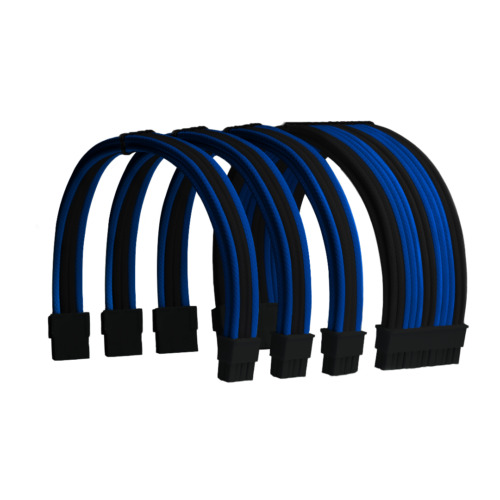 Blue and Black Custom Sleeved PC Extensions Cable Basic Kit PSU Power