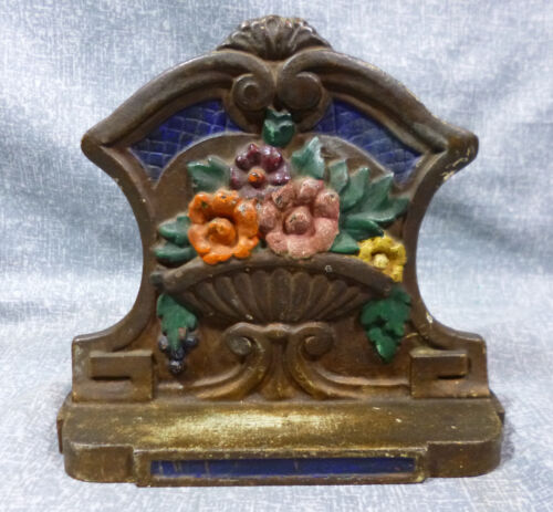 """Antique """"Flowers in Bowl on Pedestal"""" Cast Iron Book End"""