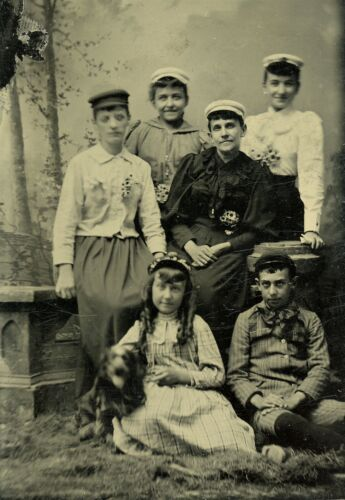 Family with Victorian Daisy Flowers and Dog, Vintage Tintype Photo