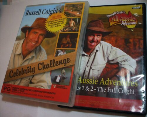 Russell Coight  All Aussie Adventures 1 2 & Celeb Challenge - 3x R4 DVD - posted