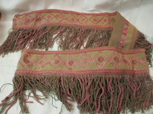 Antique wide cotton pink & tan Trim braided cord Fringe