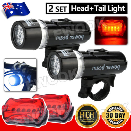 2X Light Head Tail Lights 5 LED Lamp White Beam Safety Alarm Bicycle Cycle Bike