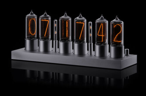 ZIN18 IN18 New Nixie Tube Clock Silver Aluminium Case WIFI Android/Iphone Setup  <br/> SIX Nixie Tubes 15 Years warranty Bigger than IN-18