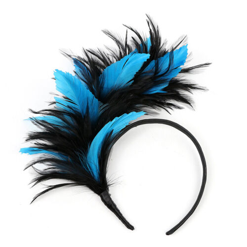 BLACK & TURQUOISE FEATHER FASCINATOR/CROWN/TIARA ON HEADBAND, SPRING RACES