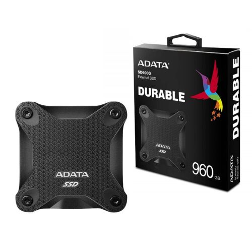 Adata ASD600Q-960GU31-CBK 960GB Ultra-Speed External Solid State Drive Shock WP.