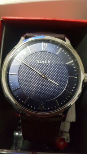 Timex Mens Watch Brown Leather Band TW2R499001P