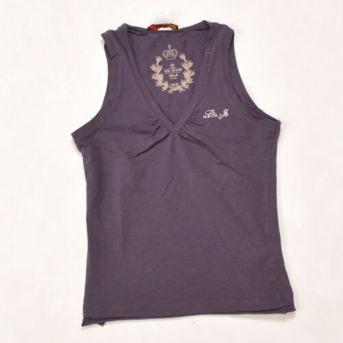 LIU JO Purple Top ladies Sleeveless T SHIRT Gems Logo Stretch XS