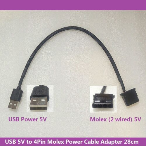 5V USB Power to 4Pin Molex 5V Female Power Converter Cable Adapter 28cm